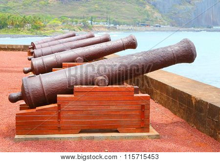 Old navy cannons on waterfront in Saint-Denis, Reunion Island.