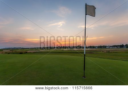 Plain Flag On Golf Green