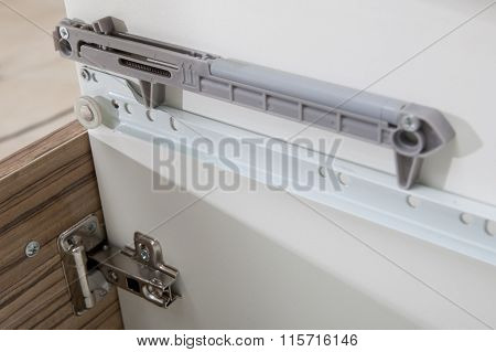 Undermount Drawer Slides - Glides Closeup Detail - Furniture Hardware - Kitchen Spare Parts