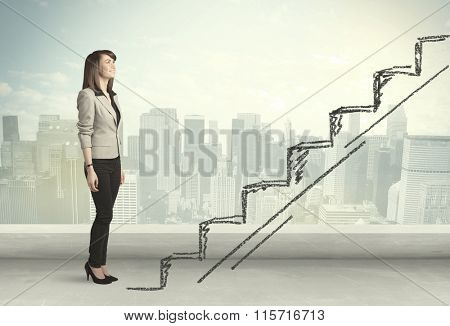 Business woman climbing up on hand drawn staircase concept on city background