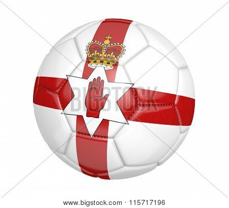 Football, alternatively called a soccer ball, with the national flag colors of Northern Ireland