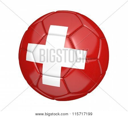 Football, alternatively called a soccer ball, with the national flag colors of Switzerland