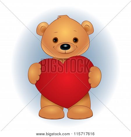 Brown Teddy Bear Heart