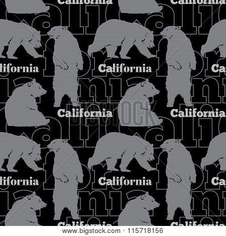 Vector Travel California Bears Seamless Pattern with gray bears sitting, standing up and walking on