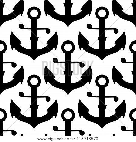 Seamless pattern of nautical black anchors