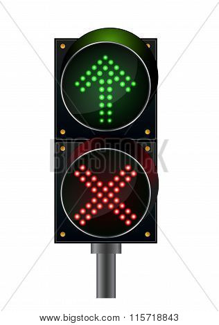 Traffic lights top arrow with crossword light
