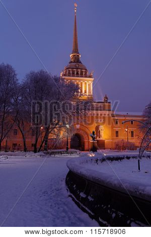 ST. PETERSBURG, RUSSIA - JANUARY 17, 2016: Building of the Admiralty in a winter evening. Built in 1719, the Admiralty with its ship weathervane on the spire become one of the symbols of the city