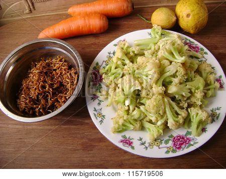 Asian vegetarian dinner cauliflower and chow mein