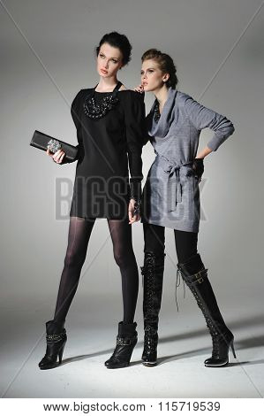 Full body Young fashion two girl holding purse on gray background