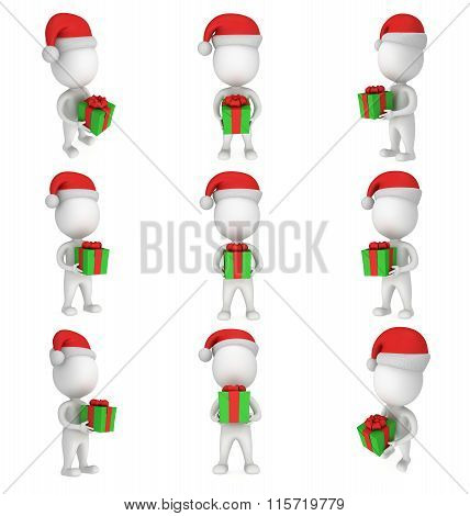 3D White Man In Santa Claus Cap With Green Gift. Set.