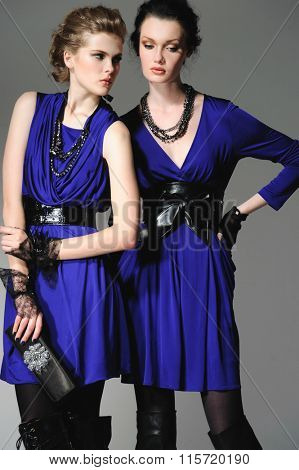 high young attractive two girl wearing blue cloth holding purse on gray background