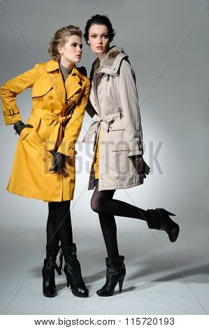 young attractive two girl wearing coat cloth posing  in light background