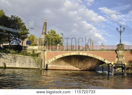BERLIN,GERMANY-AUGUST 27:View through the window of the boat on august 27 2014