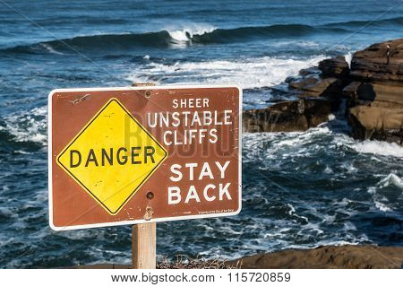 Warning Sign of Unstable Cliffs at Sunset Cliffs