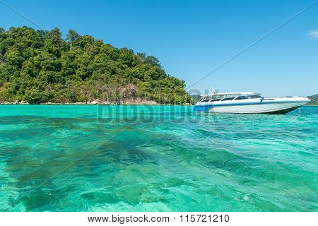 Speedboat in Corals Island Sea in Phuket Thailand