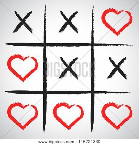 Simple Game - X-o Game.hand Drawn Tic-tac-toe Elements.happy Valentines Day Symbol.
