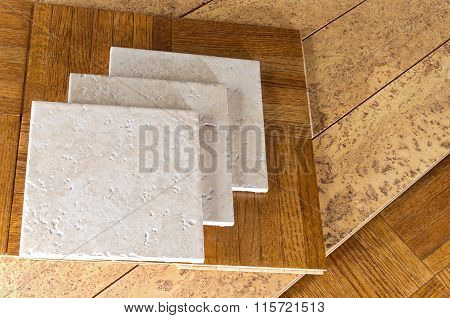 Flooring Samples Of Wood, Cork And Tile