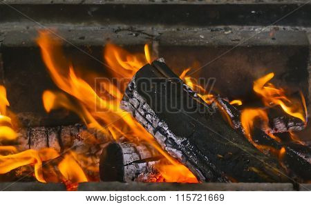Close Up Of Burning Fireplace At Home