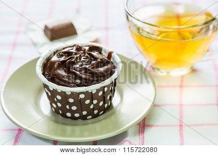 Chocolate Cupcake And Tea