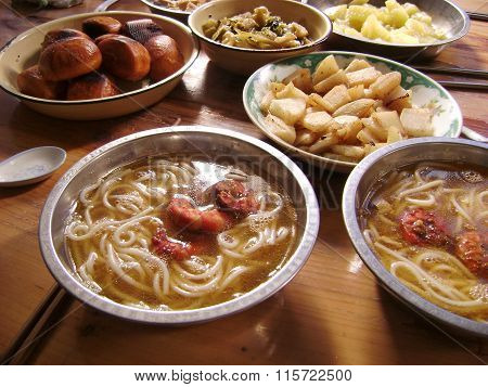 Chinese meal seafood noodle soup