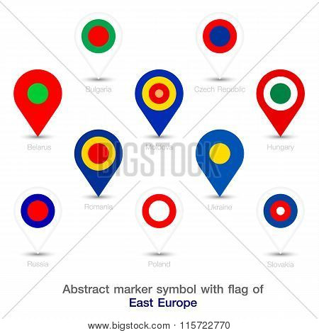 Abstract Marker Symbol With Flag Of East Europe.