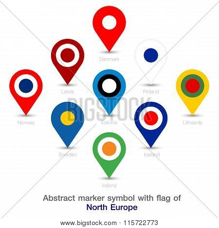 Abstract Marker Symbol With Flag Of North Europe.