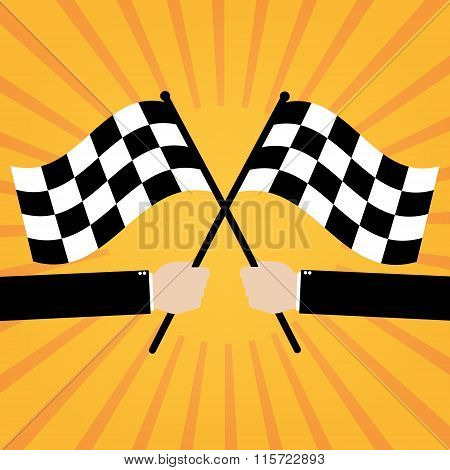 Businessman Hold Two Finish Checker Flags Crossed On Orange Sunrays Background. Vector Illustration
