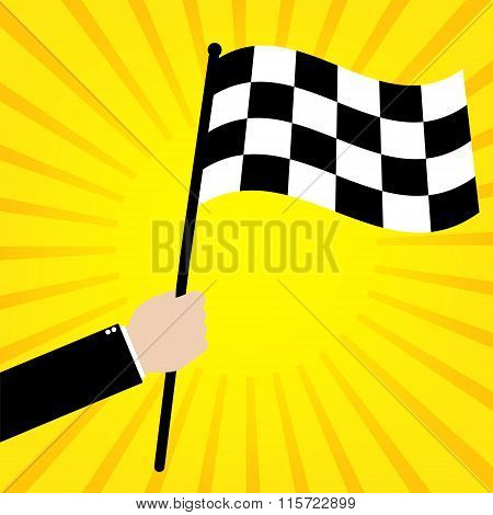 Businessman Hold A Race Finish Flag On Yellow Sunrays Background. Vector Illustration Business Succe