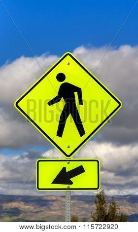 Yellow Crosswalk Street Sign