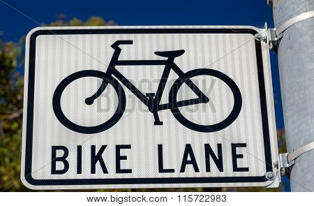 Bike Lane Parking Sign In Urban Setting