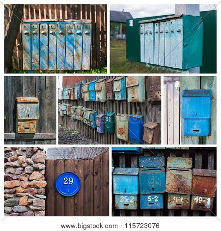 Photo Collage Of Old Mailboxes