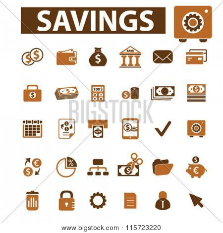 savings, personal finance  icons, signs vector concept set for infographics, mobile, website, application
