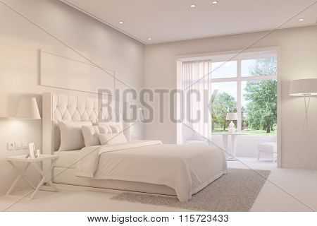 Bright white bedroom with king size bed on a day (3D Rendering)