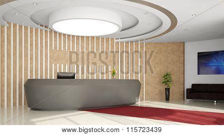 Modern reception desk in elegant hotel lobby (3D Rendering)