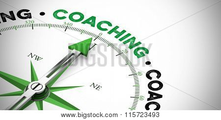 Arrow of compass pointing to success in business with coaching (3D Rendering)