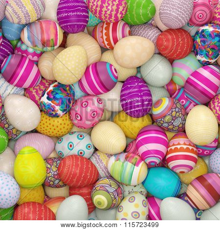 Many colored easter eggs from above as background (3D Rendering)