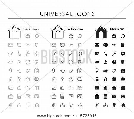A Set Of  Universal Icons, Thin Line, Bold Line, Fill