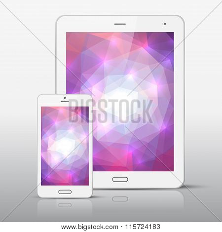 White  Mobile Phone And Tablet Pc Template