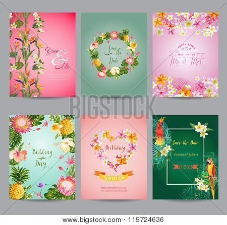 Tropical Flowers Card Set - for Wedding, Birthday, Baby Shower, Party - in vector