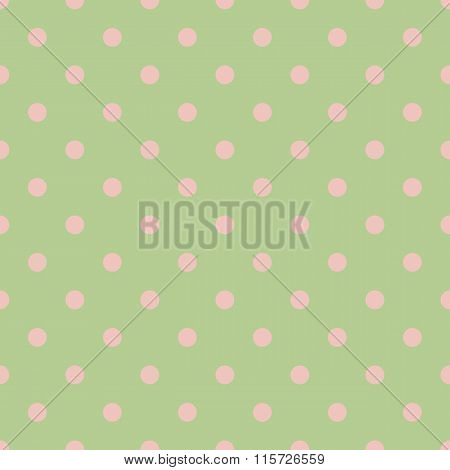 Seamless Polka Dot Green Pattern With Circles