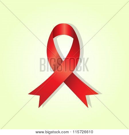 Red Awareness Ribbon On Yellow Glow Background