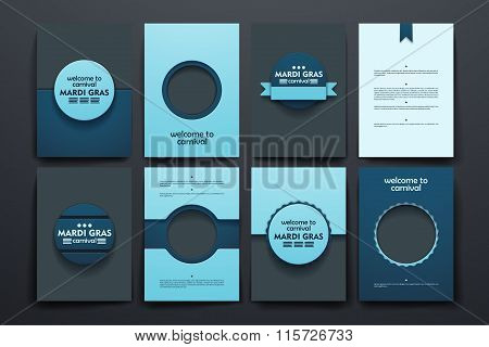 Vector brochures with doodles backgrounds on Mardi Gras theme