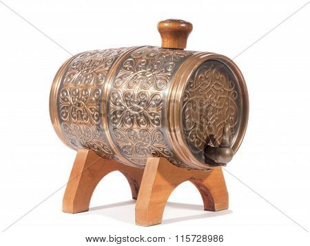 Barrels For Alcohol Isolated On A White Background