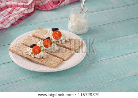 Healthy Breakfast Of Dry Breads With Cheese, Tomatoes And Olives
