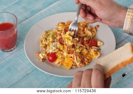 Men Eating Breakfast Scrambled Eggs