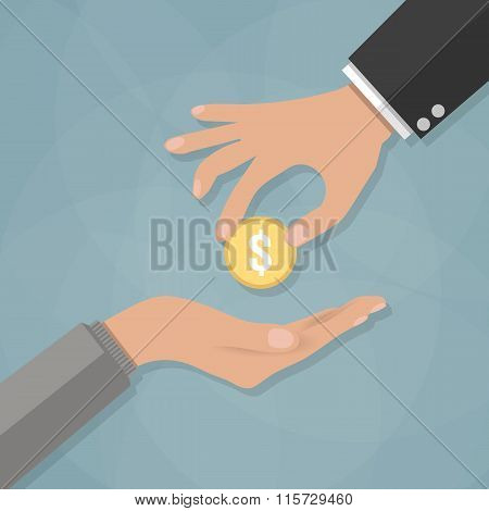 Hand giving golden coin to another hand