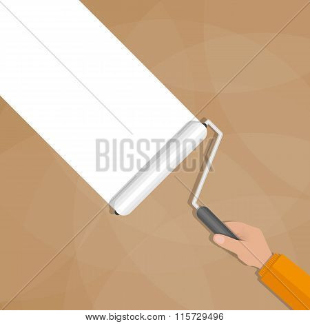 Paint roller with hand