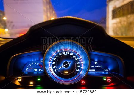 Dashboard of the sport car at night