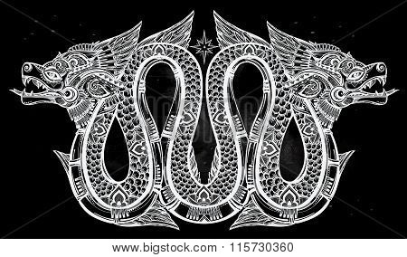 Highly detailed illustration of  winged dragon.