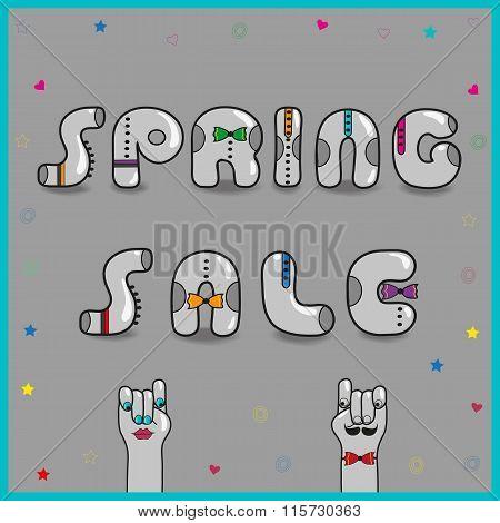 Inscription Spring Sale. Vector Illustration